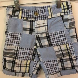Janie and Jack Blue Madras Patchwork Shorts - 5